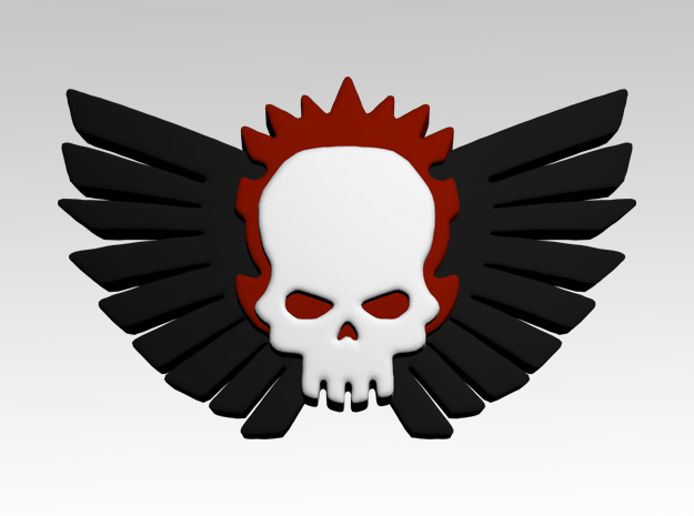 Skull & Wings 1 Shoulder Icons x50 in Smooth Fine Detail Plastic
