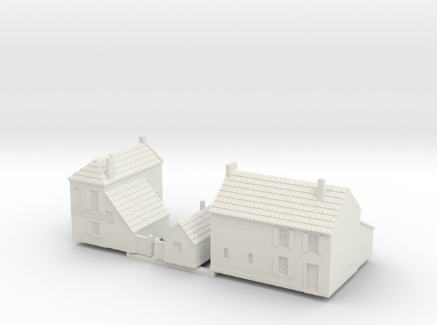 1:285-French Houses X2 in White Natural Versatile Plastic