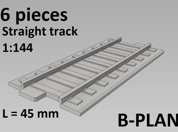 1/144th scale Straight Tracks (6 pcs) in Smooth Fine Detail Plastic