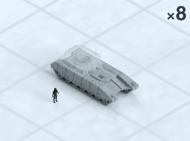 6mm Tracked MBT Chassis (8) in Smooth Fine Detail Plastic