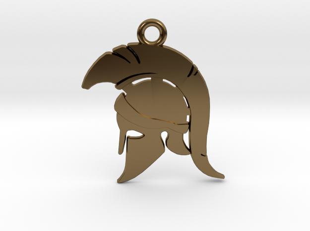 Spartan Warrior Helmet Pendant/Keychain in Polished Bronze