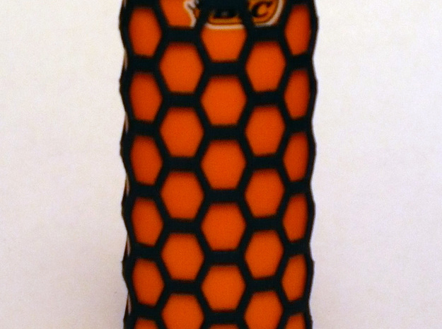 Honey Comb Lighter Case 3d printed Orange Bic