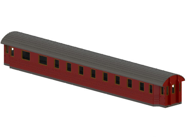 BCo11b - Swedish passenger wagon in White Natural Versatile Plastic