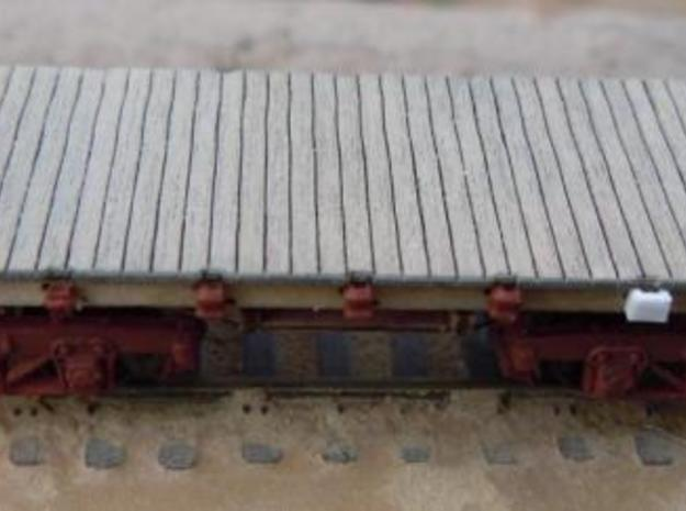 A13A15 N scale stake pockets, single and double 3d printed on a RLW flat car kit