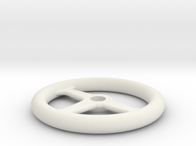1:10 Scale RC Steering Wheel in White Natural Versatile Plastic