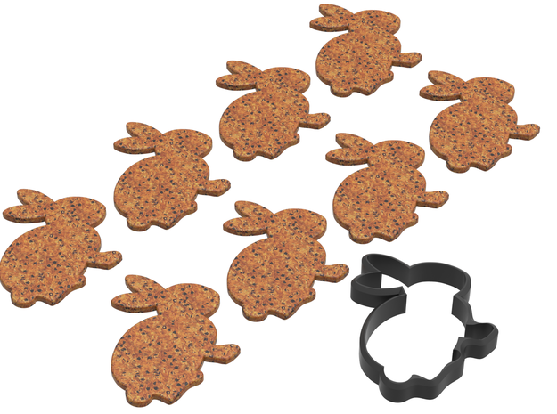 Bunny Shape Cookie Cutter Stamp 1 in Black Natural Versatile Plastic