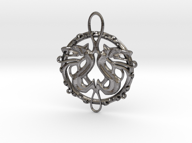 Dragon Pendant in Polished Nickel Steel