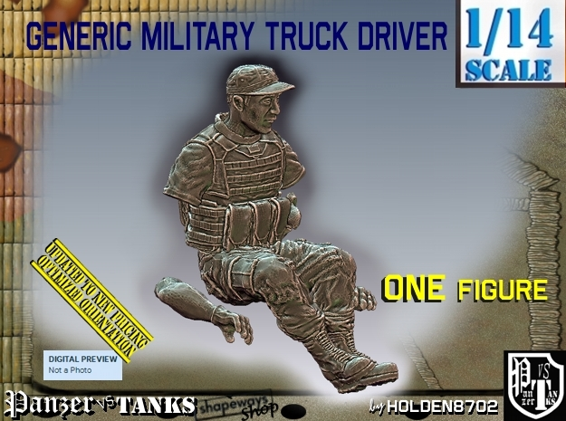 1/14 Generic Truck Driver 005 in White Strong & Flexible