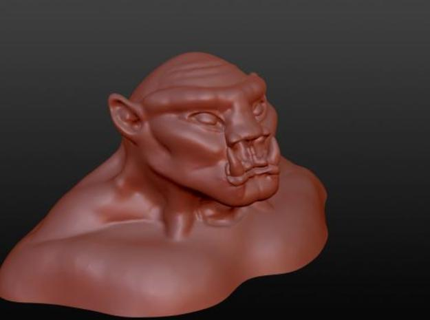 Orc 3 inch Bust in White Natural Versatile Plastic