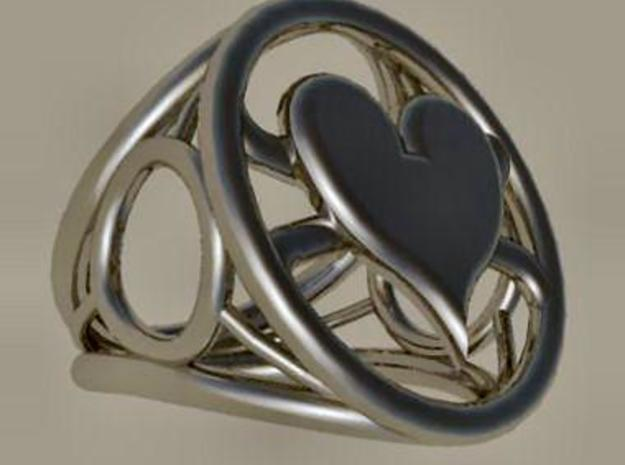 Size 25 5 mm LFC Hearts in Polished Bronzed Silver Steel
