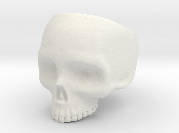 Skull Ring v3 - Size 6 in White Natural Versatile Plastic