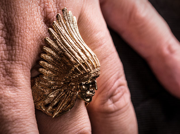 Native American Indian Chief Ring in Natural Brass: 10 / 61.5