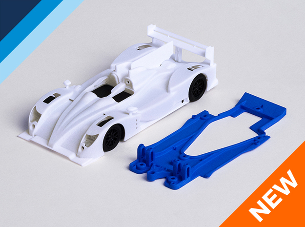 1/32 Oreca 03 Chassis for NSR pod in Blue Processed Versatile Plastic