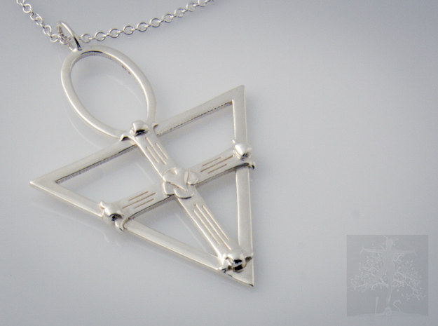 Rose Cross in Polished Silver: Medium