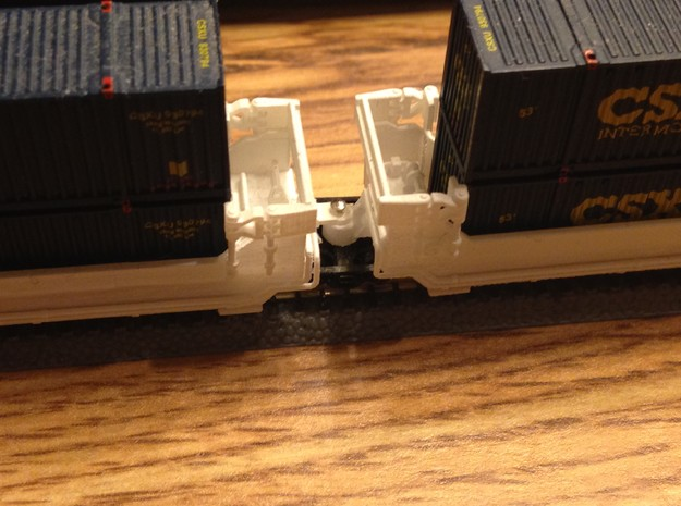 Twin Stack Container cars Z scale in Smooth Fine Detail Plastic