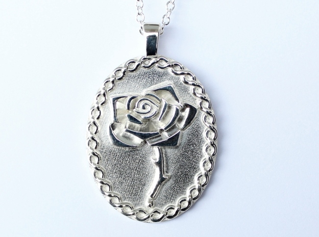 Bleeding Rose Oval Pendant