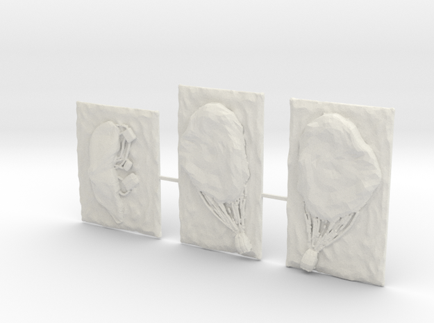 Para-dropped Parachutes Sprue in White Natural Versatile Plastic