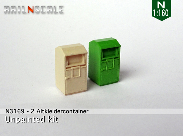 2 Altkleidercontainer (N 1:160) in Smooth Fine Detail Plastic