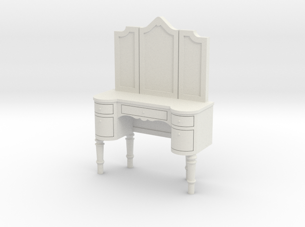 1:48 French Louis Style Vanity  in White Natural Versatile Plastic