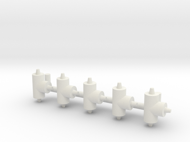 """ø2.4mm 3/32"""" Pipe Fittings T 5pc in White Natural Versatile Plastic"""
