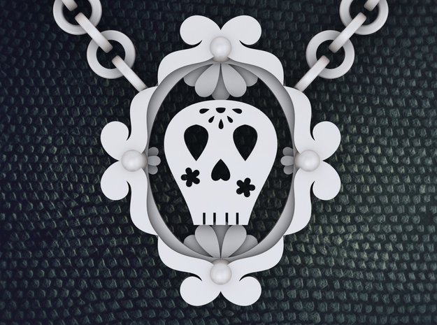 Sugar Skull Necklace 3d printed Sweet Sugar Skull