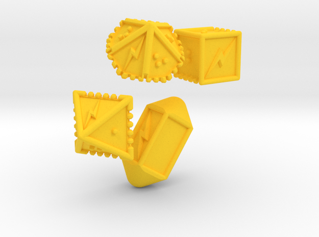 Braille Lightning Gaming Dice in Yellow Strong & Flexible Polished