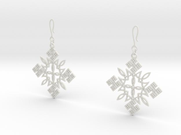 Habesha Cross Earrings in White Natural Versatile Plastic
