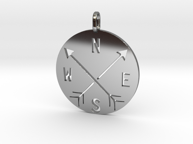 Adventure the four cardinal points in Fine Detail Polished Silver