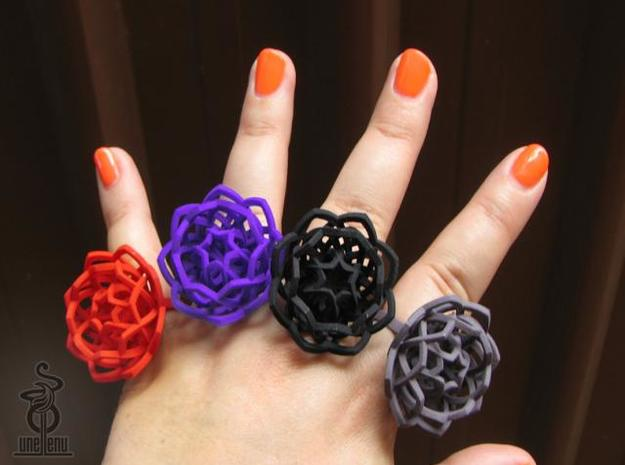 Transcendence Lotus Ring, adjustable size small 3d printed