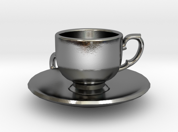 Tea Cup Pendant in Polished Silver