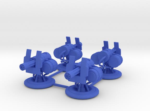 Turrets for Gaslands - 4 Pack in Blue Processed Versatile Plastic