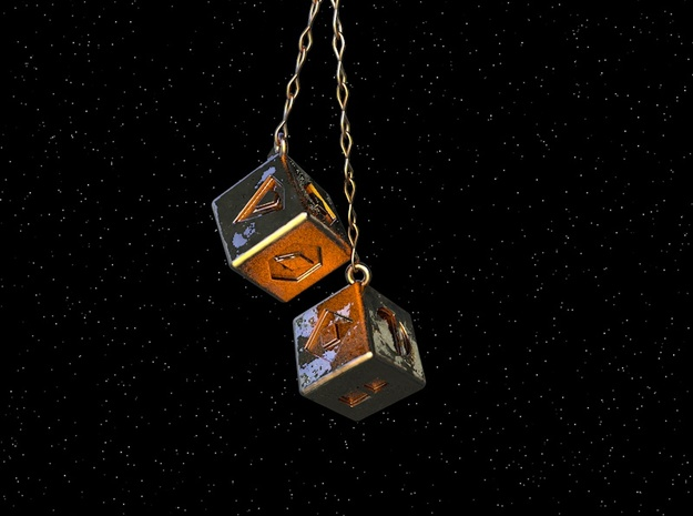 Smugglers Dice with loop in Polished Gold Steel