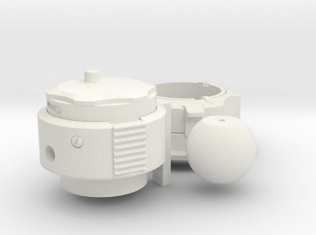 Gas (PLSS O2) Outflow Connector with Purge Valve in White Natural Versatile Plastic