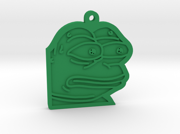 Pepe the Frog monkaS Meme Keychain in Green Processed Versatile Plastic
