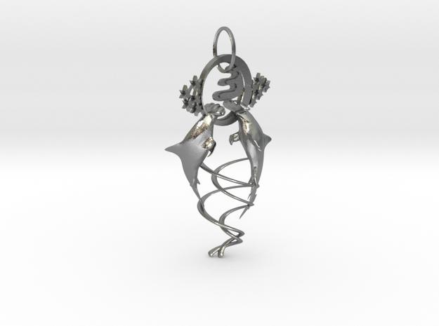Hammerhead shark in Natural Silver