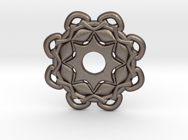 4d6 in Polished Bronzed Silver Steel