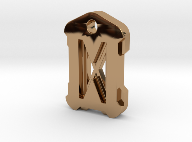 Nordic Rune Letter D in Polished Brass