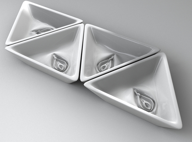 Triangular Vagina Ritual Bowl 3d printed Can be arranged neatly