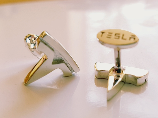 Tesla Logo cufflinks in Polished Silver