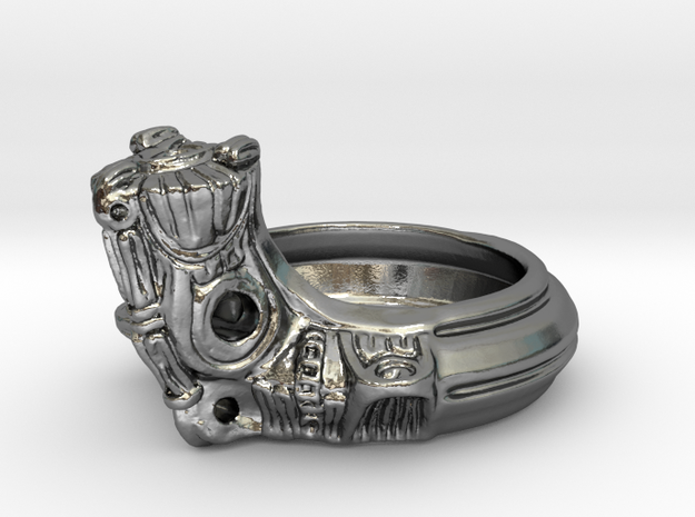 Jomon style ring in Polished Silver