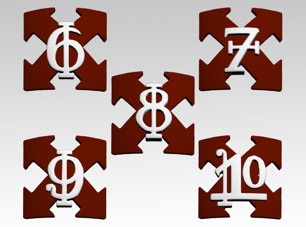 Assault Squads 6-10 Shoulder Icons x50 in Smooth Fine Detail Plastic