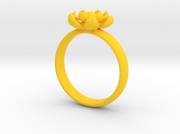 Flower Ring in Yellow Processed Versatile Plastic