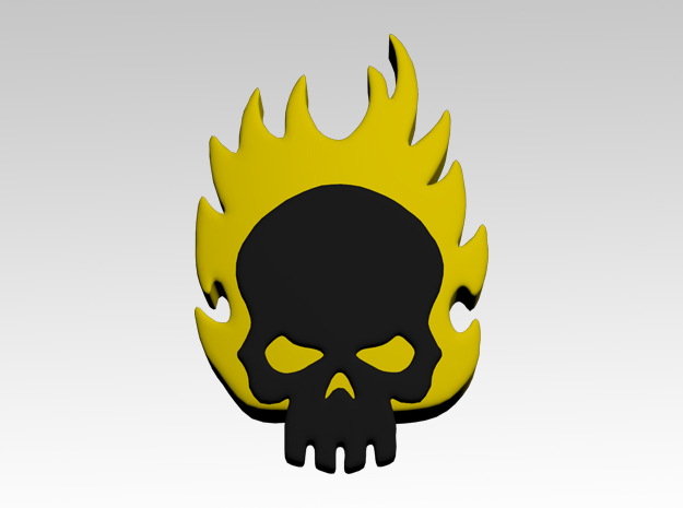 Skull & Flames 2 Shoulder Icons x50 in Smooth Fine Detail Plastic