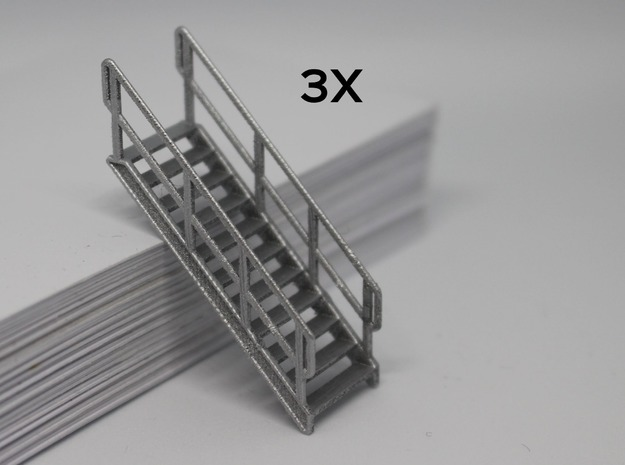 HO 3x Stairs #11 in Smooth Fine Detail Plastic