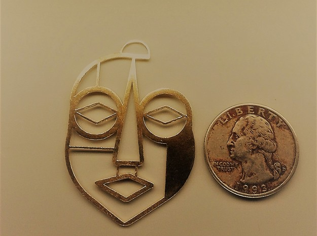 Tribal Mask 2 in Natural Brass
