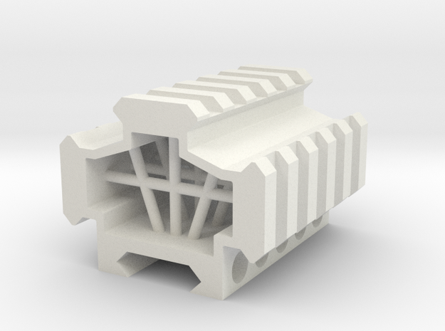 Picatinny rail splitter to 3 - 5 slot in White Natural Versatile Plastic