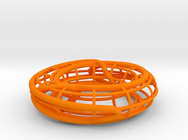 Prime Knot 8_15 on a Torus in Orange Processed Versatile Plastic