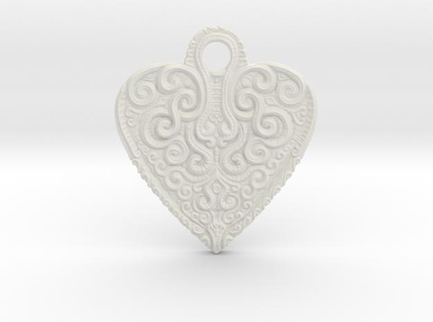 heart keychain/pendant in White Natural Versatile Plastic