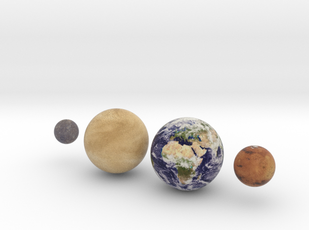 The 4 Rocky Worlds, 1:0.7 billion in Full Color Sandstone