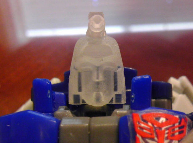 DEVCON Apex Head for GenScrg 3d printed Apex Head in Frosted Ultra Detail on TF. Gen. Scourge Deluxe Toy